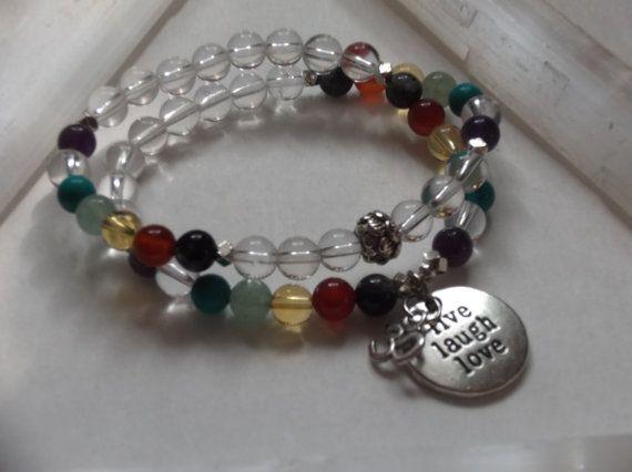 Quartz Crystal 7 Chakra Gemstone Healing Stretch by HealingAuras
