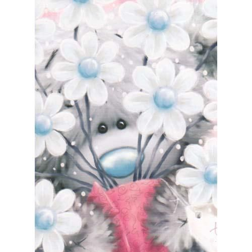 Bear Looking Through Flowers Me To You Bear Card (A77SS005