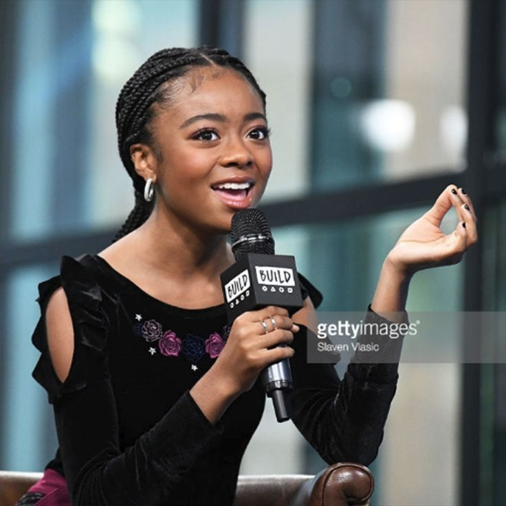 """Actress, Skai Jackson, was spotted wearing Pavé by Belle Étoile on her visit to Build to discuss """"Nowadays Collection"""" on October 16, 2017 in New York City."""
