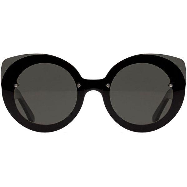 RETROSUPERFUTURE Super Rita Black ($269) ❤ liked on Polyvore featuring accessories, eyewear, sunglasses, home, women's, acetate sunglasses, round lens sunglasses, round frame sunglasses, oversized glasses and oversized round sunglasses