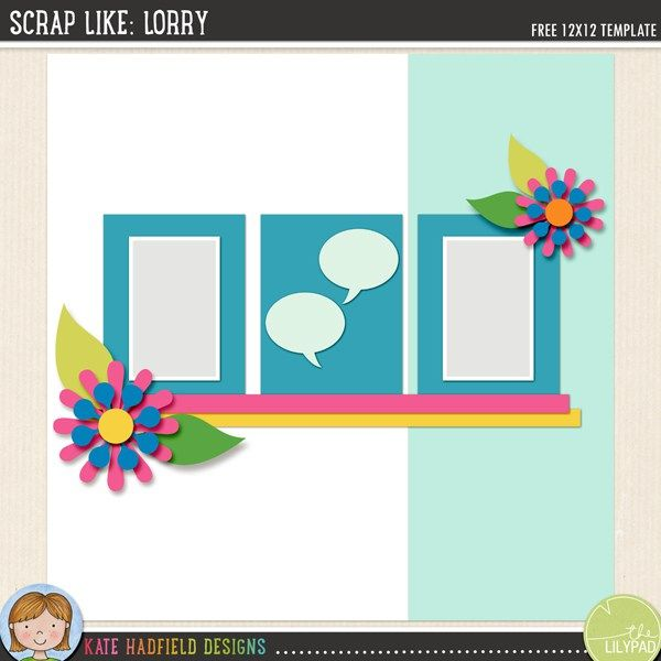 scrap like lorry free digital scrapbooking template scrapbook sketch from kate hadfield designs