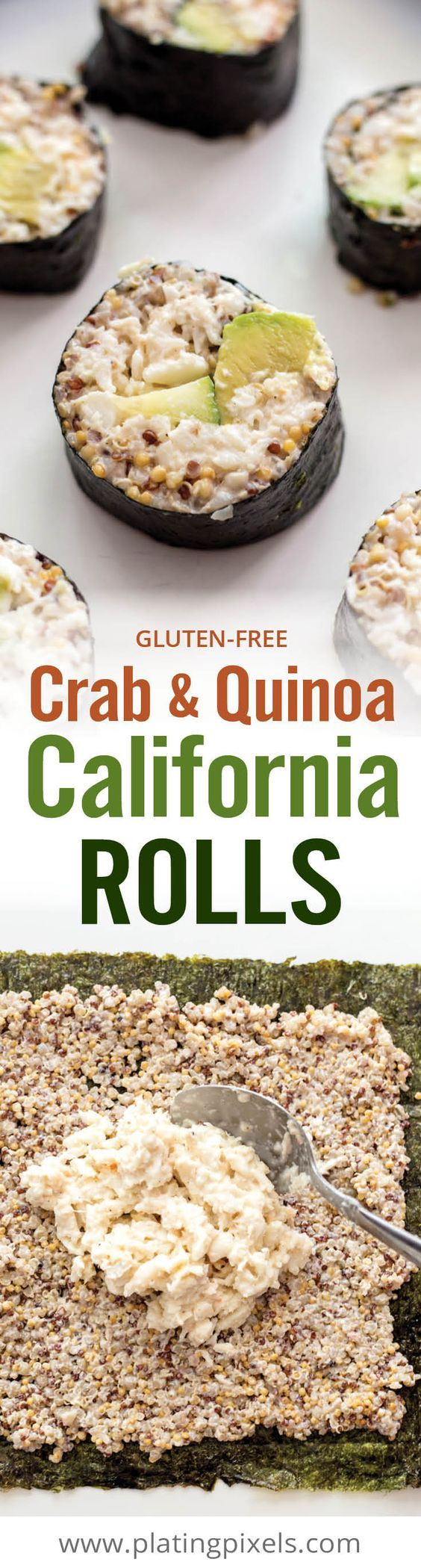 Crab and Quinoa California Rolls is an easy homemade sushi recipe. Cooked quinoa, crab meat, mayo sauce, avocado and cumber rolled in seaweed. Plus it's gluten-free. #vhblends #clvr @village_harvest [ad] https://www.pinterest.com/villageharvest/