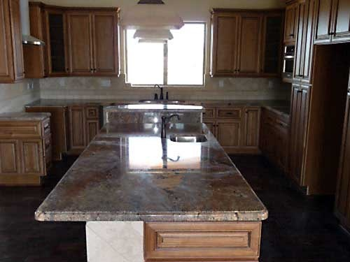 Coffee glazed maple cabinets with granite light tile - How to repair water damaged kitchen cabinets ...