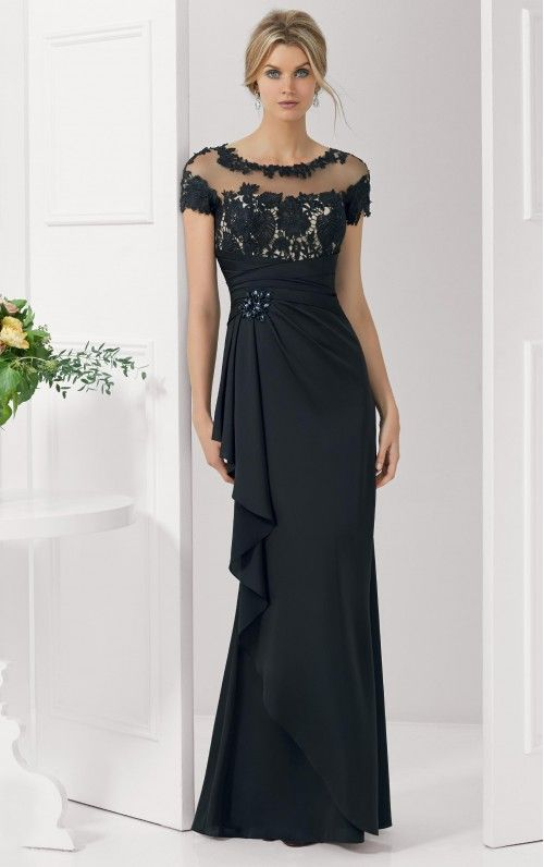 Sheath Empire Short Sleeves Scoop Floor-length Evening Dresses