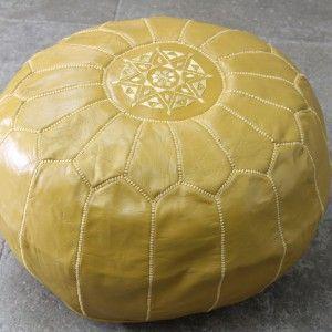 Pouf Marocain en cuir Moutarde