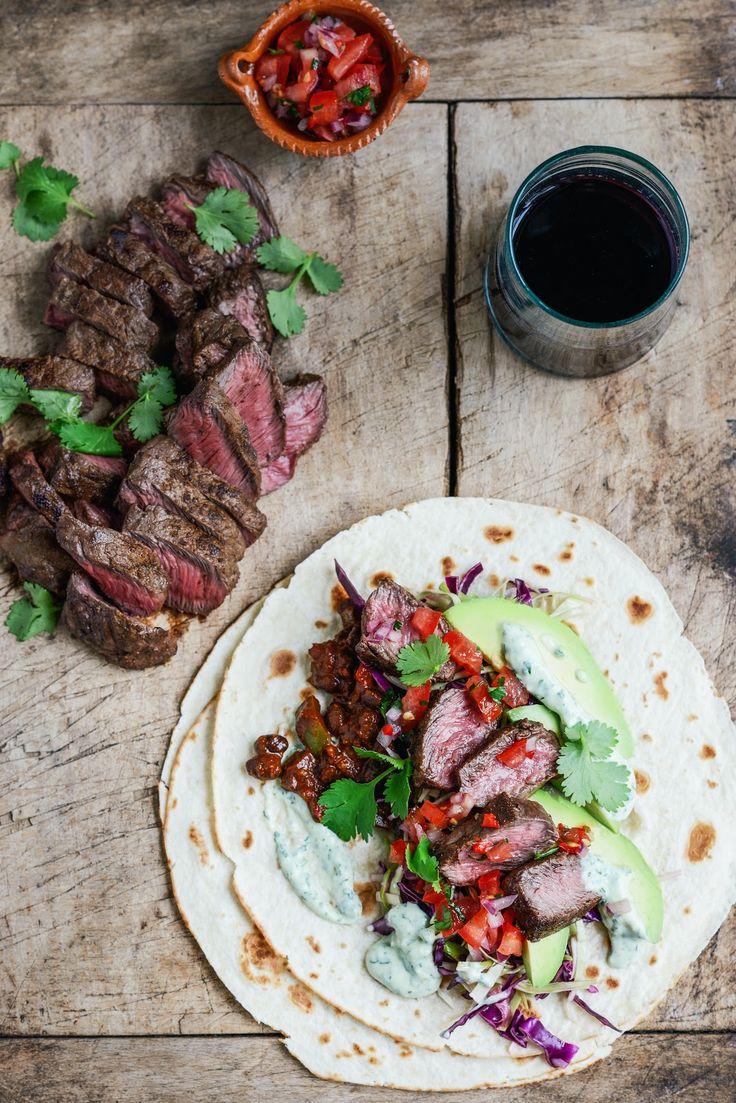 Flat Iron Steak Tacos with Black Bean Mole, Pico de Gallo, Slaw & Lime Crema