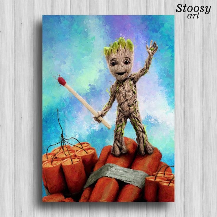baby groot print guardians of the galaxy poster marvel nursery decor by Stoosyart on Etsy
