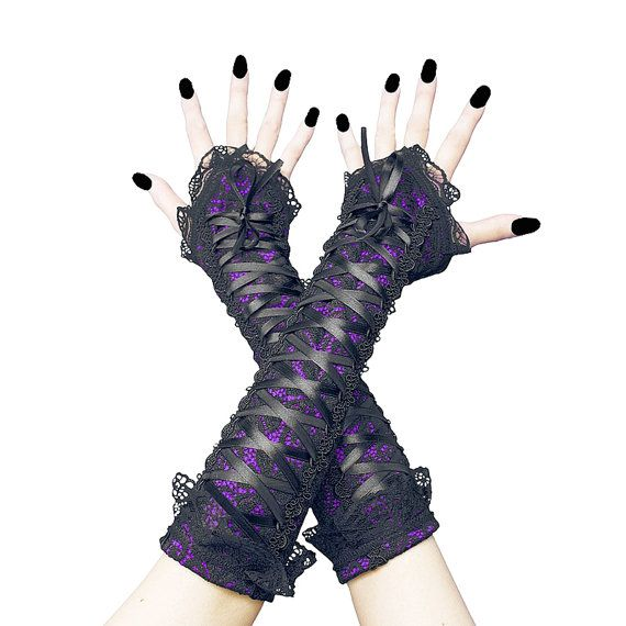 long fingerless gloves arm warmers in gothic by FashionForWomen. https://www.etsy.com/listing/209640829/long-fingerless-gloves-arm-warmers-in?ref=shop_home_active_13