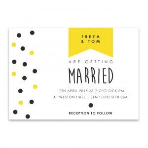 Polka Dot Modern Wedding Invitation in yellow and black