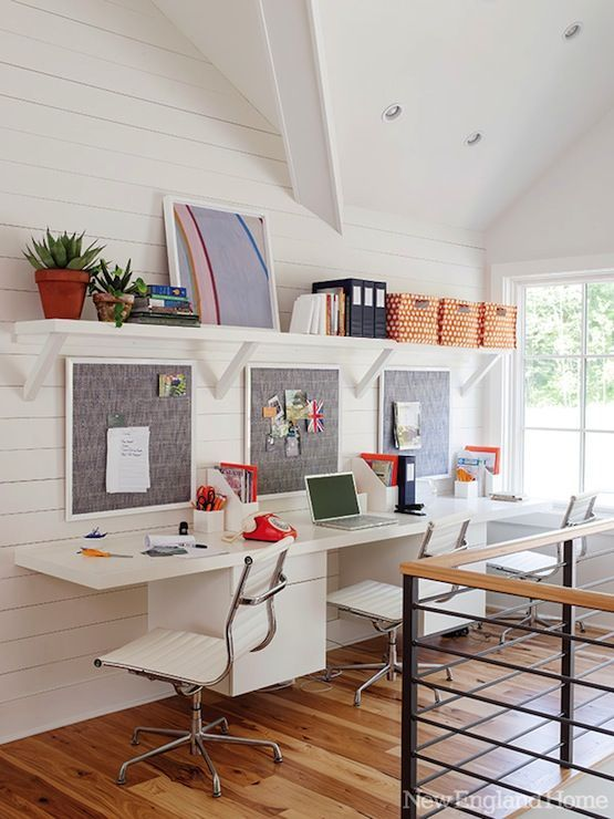 New England Home: Gorgeous light filled second-story loft space with cable railing offers a spot for ...