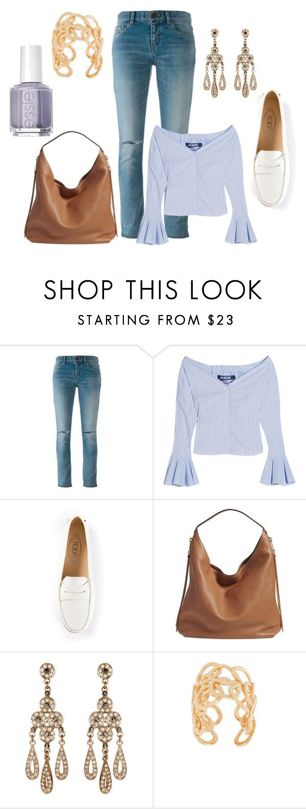 """Πρόταση: Το look της Τετάρτης"" by antiadamo on Polyvore featuring Yves Saint Laurent, Jacquemus, Tod's, Rebecca Minkoff, Accessorize, Gas Bijoux and Essie"