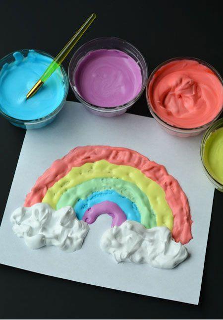 Как сделать объемные краски для творчества/ Для изготовления красок вам понадобится обычная пена для бритья, клей ПВА и красители нужного цвета.  Смешайте 2 части пены и 1 часть клея. Добавьте краситель. Хорошо перемешайте, и можете начинать рисовать.