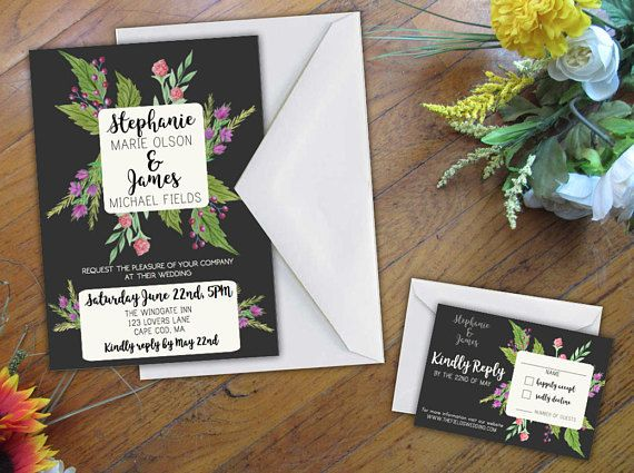 Floral Wedding Invitation Wedding 5x7 Card Personalized