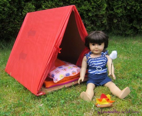 "Doll Craft - How to make a doll tent, sleeping bag and campfire for American Girl dolls and other 18"" dolls."