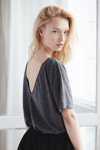 THE ODDER SIDE Gray T-shirt with open back. Shop at www.theodderside.com