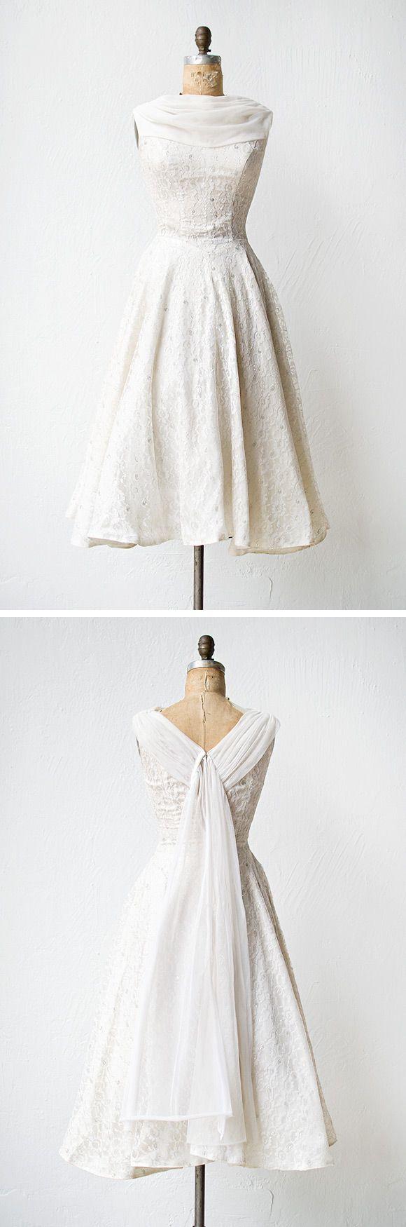 vintage 1950s wedding dress metallic lace thread | Illuminated Love Dress