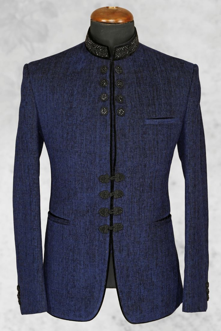Navy #blue fashionable #jute suit with bandhgala collar-ST504