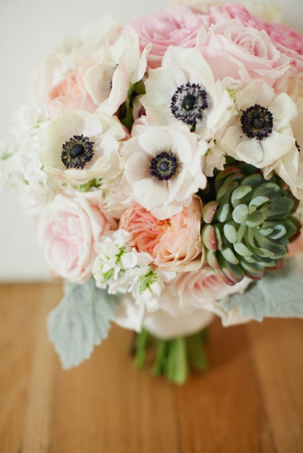 Gorgeous bouquet!!!  anemones, succulents, lambs ear, stock, cabbage roses!  peach, ivory, pink and green...LOVE