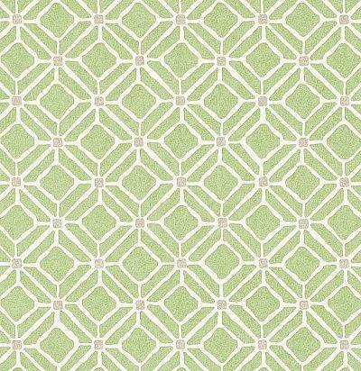 зеленые обои с орнаментом 213721 Sanderson
