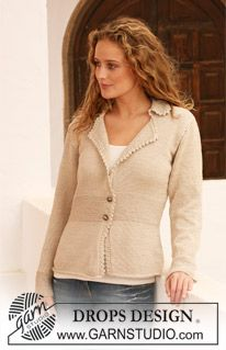 """Knitted DROPS jacket with collar in """"Muskat"""". Size S - XXXL. ~ DROPS Design"""