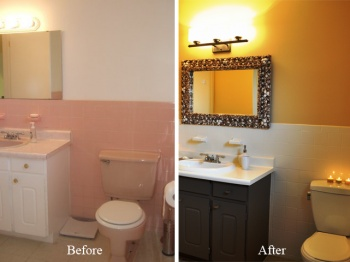 Sharon Grech Shows Off Her Bathroom Renovation Project Where She Painted  Old Pink Tile To Look Part 79