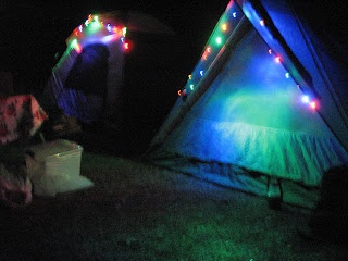 old school camping - Glamping - tents with battery operated LED lights = FUN
