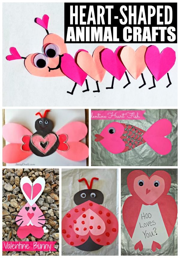 Check out Heart Shaped Animal Crafts!