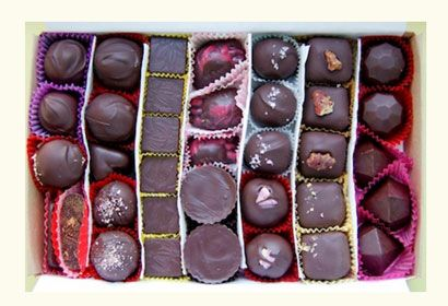 VEGAN CHOCOLATE BOX -  Treat your favorite animal lover to this giant box of luscious vegan truffles, bonbons, caramels and toffees.  There are at least ten titillating flavors in each box, but trust us, they won't last for very long.   from Lagusta's Luscious