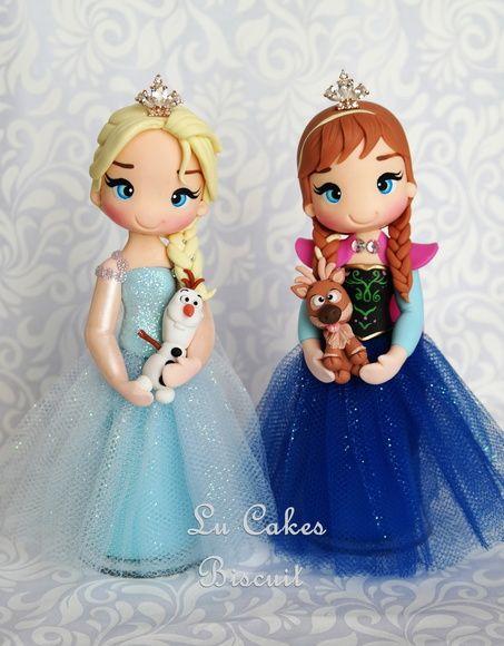 Anna e Elsa Frozen Topo de bolo em biscuit