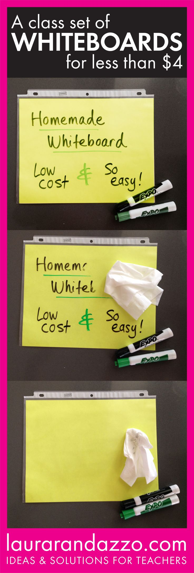 Love this cheap and easy solution for classroom whiteboards. I also put place value charts, tens frames, and so much more in these!