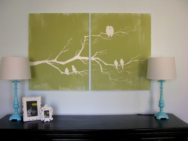 Bird Wall Art.  I sure do wish I could paint and draw...  :)  Going to have to try this some time.