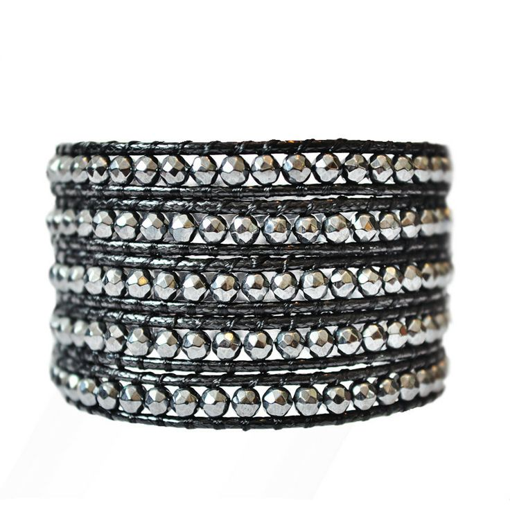 Midnight Black 5 Wrap Leather Bracelet.Silver metal beads on natural black leather. On super-sale via Emmajaxon.com. #bracelet #jewelry #black #wrapbracelet #2014style #silver #metal