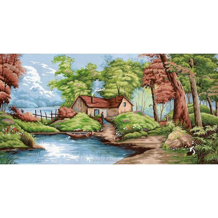 La rivière forestière canevas de Margot