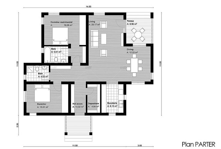 case cu doua dormitoare Two bedroom single story house plans 7