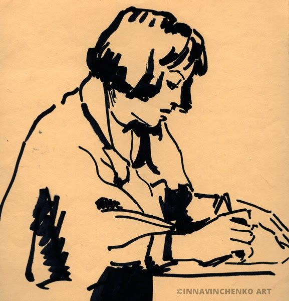 #Portrait of my mom #working http://vinchenko.blogspot.com/2014/08/when-started-my-love-for-sketching.html