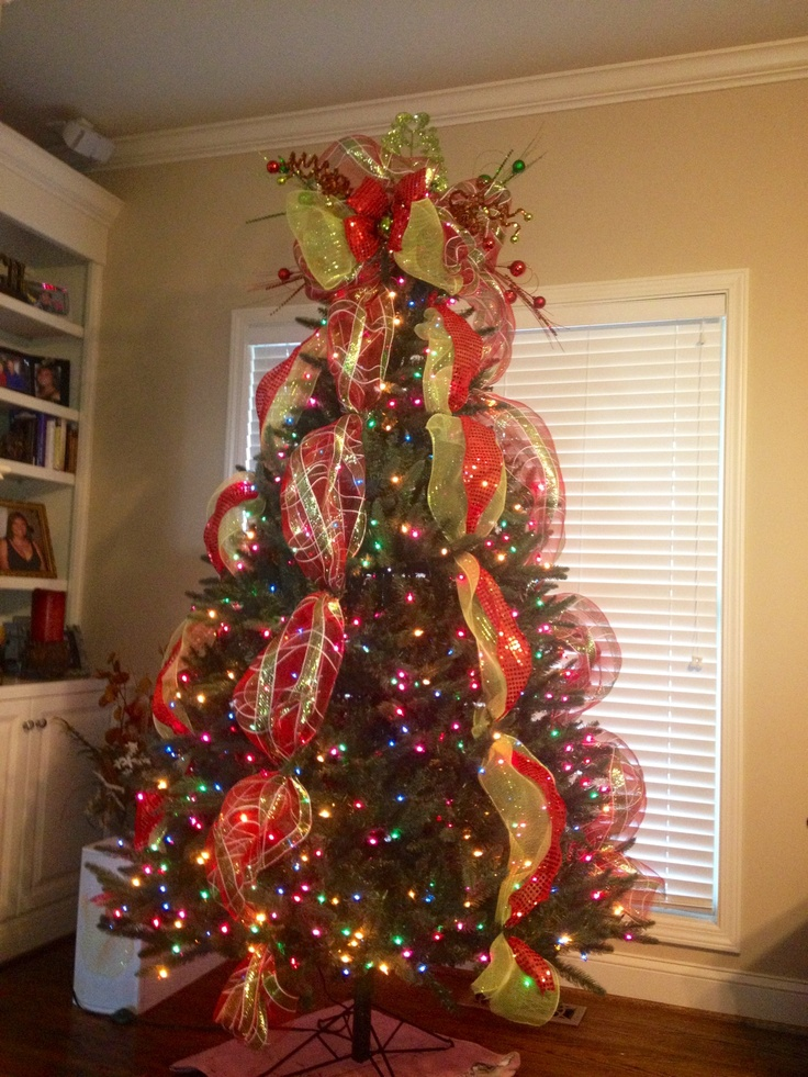 Xmas Tree Decorations With Ribbons : Tree topper christmas deco mesh