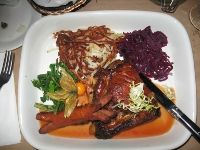 La Raclette - A Montreal Restaurants Review: La Raclette Restaurant serving maple pork rib with shublig sausage.