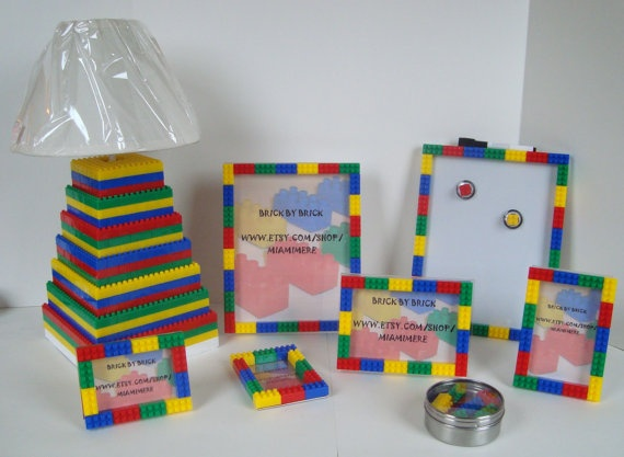 I'm going to try and make each and one of these Lego theme bedroom decoration set for boy or girl, Lamp, frames, magnets, dry erase memo board, HUGE SET
