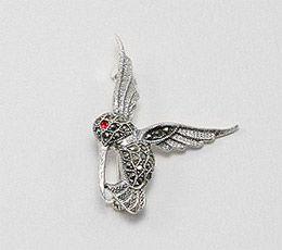 Brosa pasare colibri din argint cu marcasite