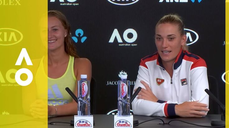 Kiki Mladenovic & Timea Babos  -- press conference (F) | Australian Open 2018 Doubles Champions ... Kristina Mladenovic and Timea Babos beat Russian duo Ekaterina ...  via Daily Mail-Jan 25, 2018 ...  Kristina Mladenovic and Timea Babos claimed their first Grand Slam as a team by beating Russian pair Ekaterina Makarova and Elena Vesnina in straight sets. France's Mladenovic and Hungarian Babos, both 24, took 81 minutes to dispatch the second seeds 6-4, 6-3...