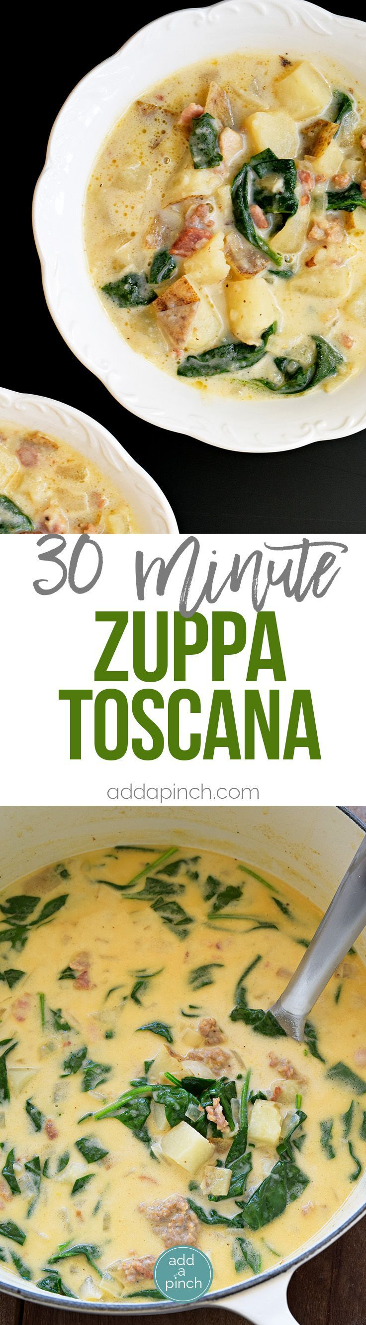 Zuppa Tuscana Recipe - This Zuppa Toscana recipe tastes just like the famous Olive Garden soup and is ready 30 minutes! // addapinch.com
