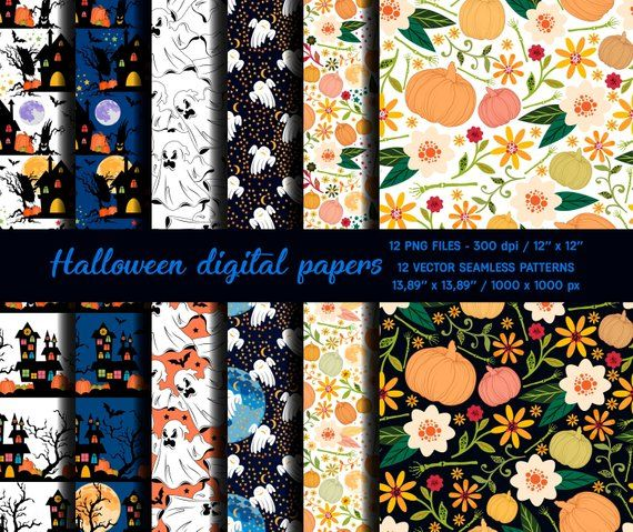 Halloween Digital Patterns,Halloween Patterns,Castles,Moons,Pumpkins,Ghosts,Vector Backgrounds,Scrapbook Paper,Digital Papers,Paper Pack,EPS
