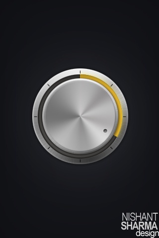 This HiFi volume knob is designed for HVGA (320x480) mobile devices with touchscreen capabilities.  It is intended to act as a screensaver when the device is playing any audio. The dark background is light on the batteries and the  aluminium texture of the control knob makes it look like the volume-control knob of a stationary HiFi audio device, thus welcoming human interaction.