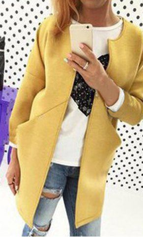Fashionable Solid Color Scoop Neck Pocket Design Wool Coat For WomenCoats | RoseGal.com