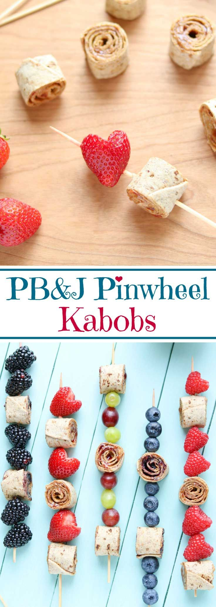 Easy and fun kids' lunch idea! So cute – they'll love this! Classic peanut butter and jelly sandwiches get a fresh twist as these PB&J Pinwheel Sandwich Kabobs! Perfect school lunch box recipe: healthy peanut butter and jelly pinwheels and fruit, together on a skewer for a fun kids' lunch recipe (with allergy-friendly, nut-free suggestions, too)! These sandwich skewers are the perfect combo of PB&J sandwich roll-ups with fun fruit kabobs! An easy school lunch idea…