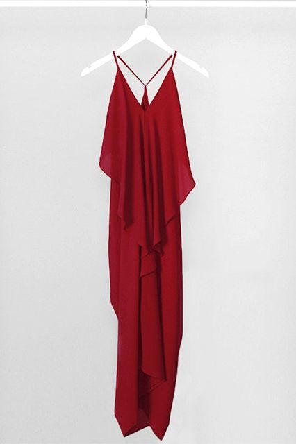 """""""A red dress is a must-have for the holiday party circuit. This elegantly draped dress is gorgeous in sultry red.""""— Stephanie Liu #refinery29 http://www.refinery29.com/los-angeles-blogger-party-dresses#slide-27"""