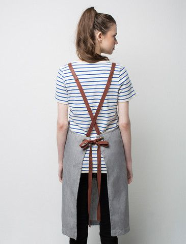 Henry Denim Bib Apron - Pebble