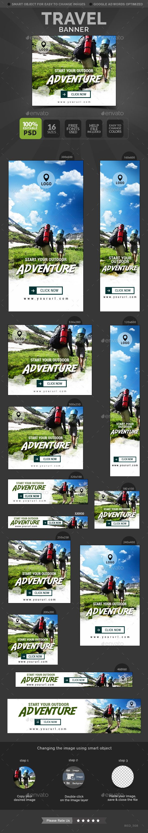 Travel Banners Template #design Download: http://graphicriver.net/item/travel-banners/12473317?ref=ksioks
