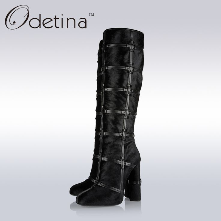 >> Click to Buy << Odetina Autumn&Winter Black Genuine Leather Horsehair Lattice Ladies Knee High Boots Square Chunky High Heel Women Long Boots #Affiliate