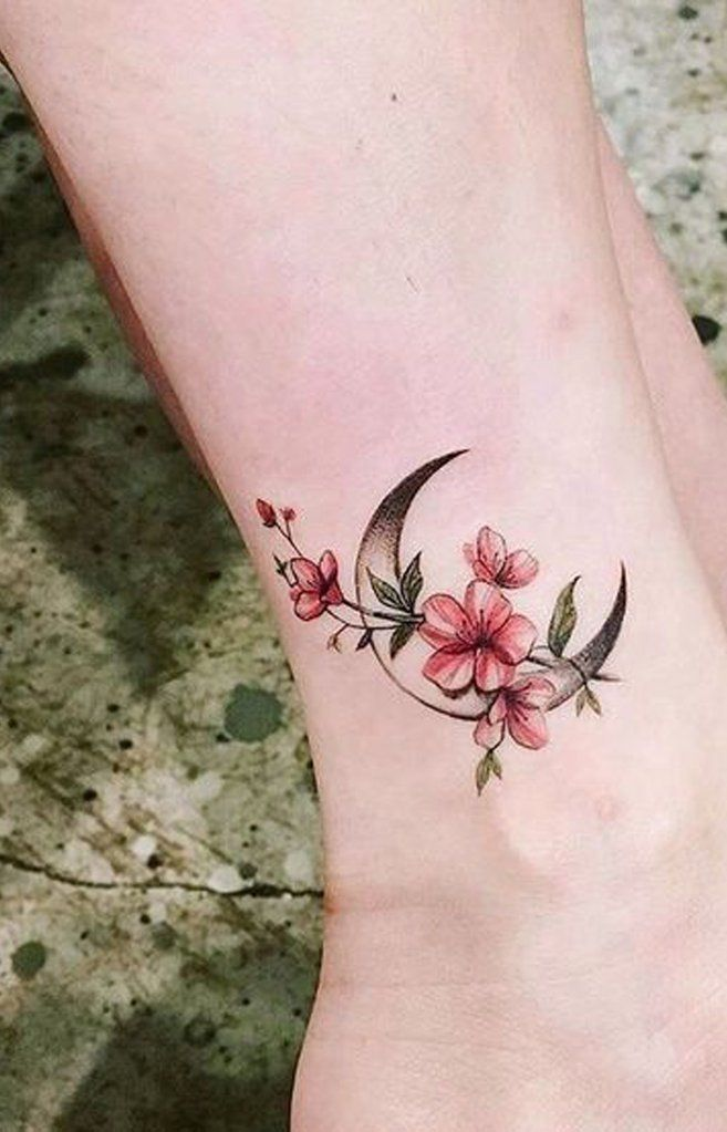 Floral Flower Moon Cherry Blossom Ankle Tattoo Ideas For Women Www Mybodiart Com Small Moon Tattoos Ankle Tattoo Blossom Tattoo